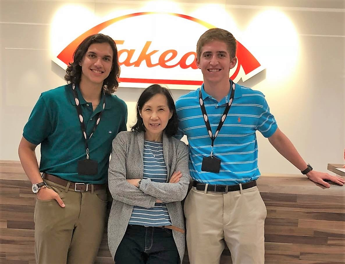 Cole Mackey (left) and Andrew Farmer (right) during their internship at Takeda.