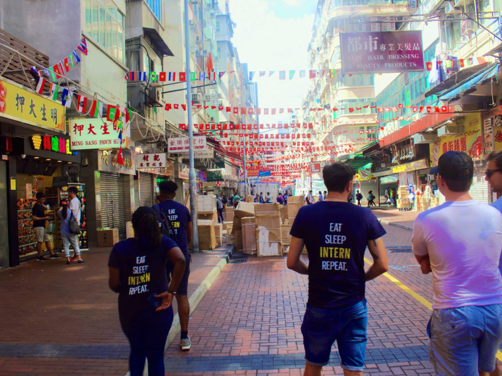 Absolute Interns walking through the streets in Hong Kong